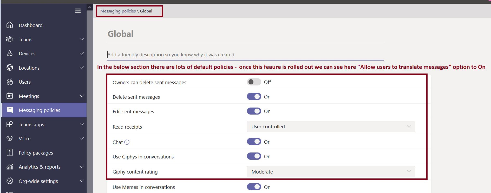 Allow users to translate messages option to on in Microsoft Teams admin center messaging policies