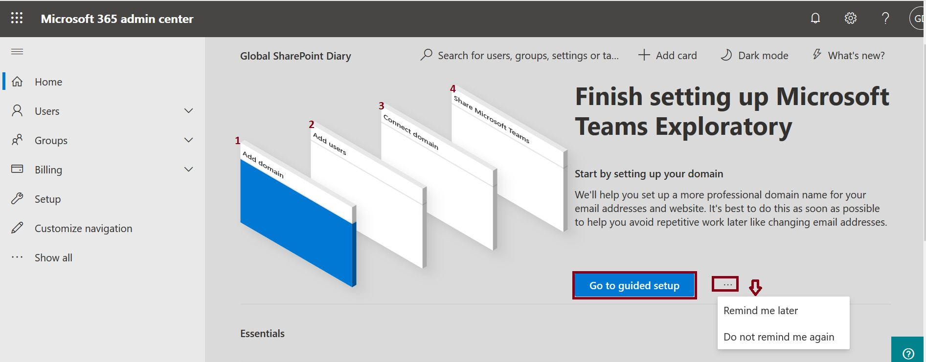 Finish setting up ‎Microsoft Teams Exploratory‎ steps