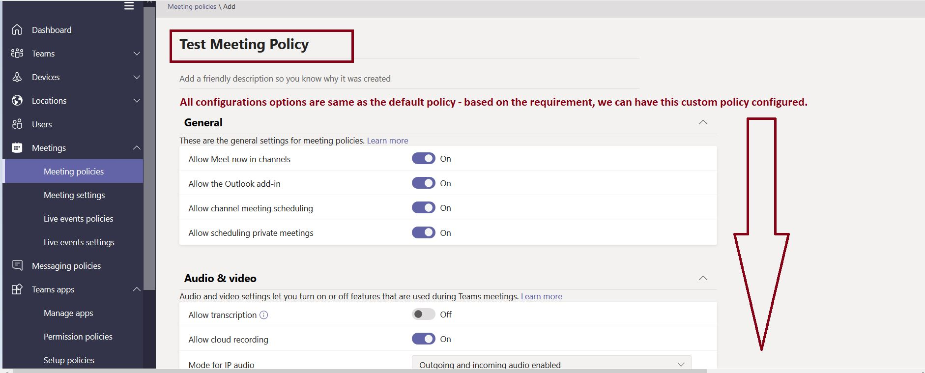 How to add a new meeting policy in Microsoft Teams