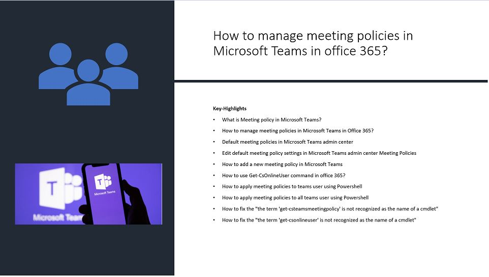 How to manage meeting policies in Microsoft Teams in office 365