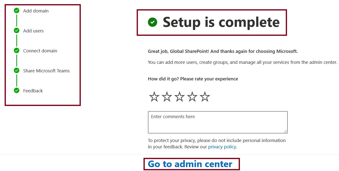 Microsoft Teams setup is complete status message in Microsoft 365 admin center