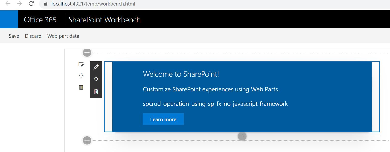 Office SharePoint Workbench SPFx Runtime test