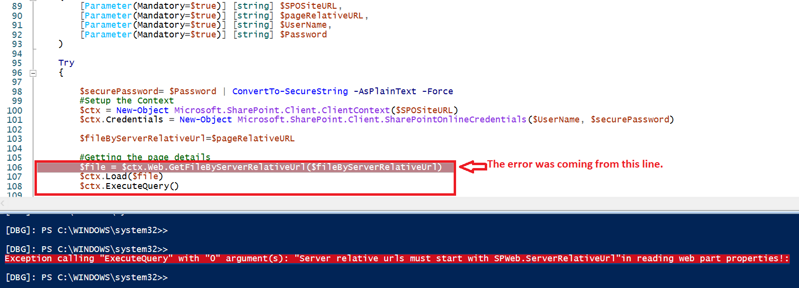 """Server relative urls must start with SPWeb.ServerRelativeUrl""in reading web part properties!:"