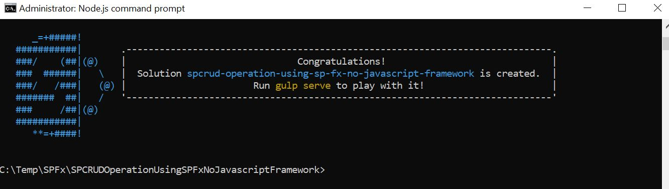 Solution spcrud-operation-using-sp-fx-no-javascript-framework is created - Run gulp serve to play with it