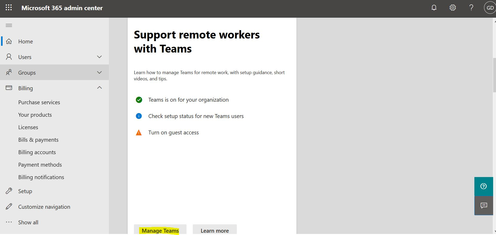 Support remote workers with ‎Teams‎ in Office 365 - Microsoft 365 admin center