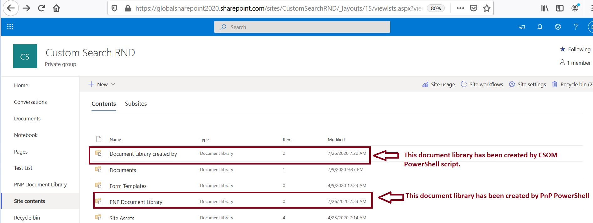 Create document library in SharePoint Online using PnP PowerShell