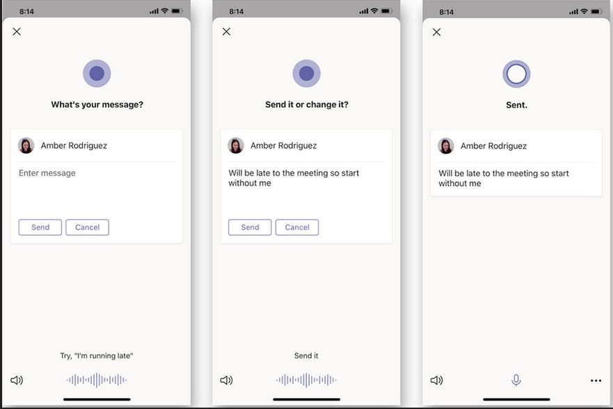 Example of Cortana flow of Cortana voice assistance in Teams mobile second part