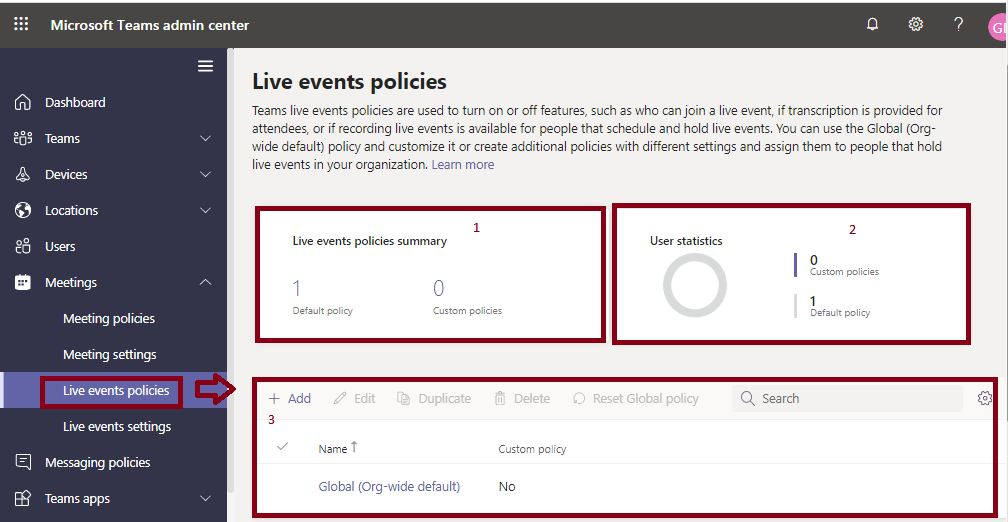 Live events policies in Microsoft Teams