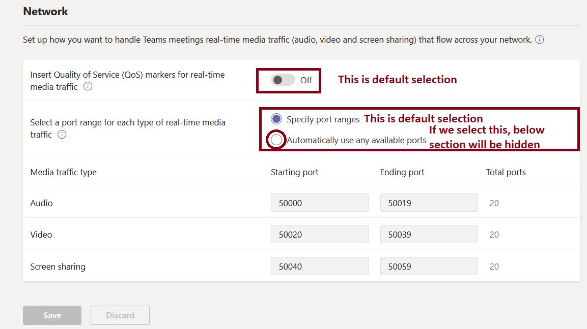 Network configuration in Teams meeting settings