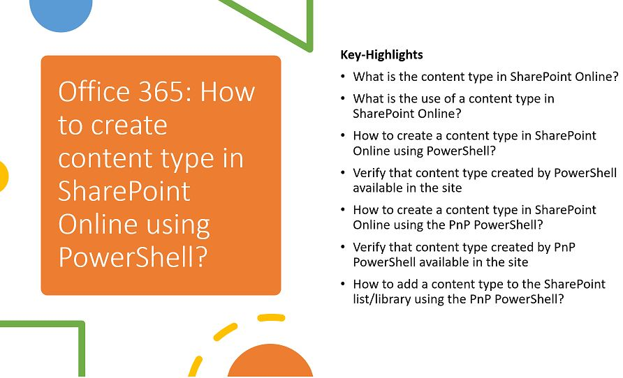 Office 365 - How to create content type in SharePoint Online using PowerShell?