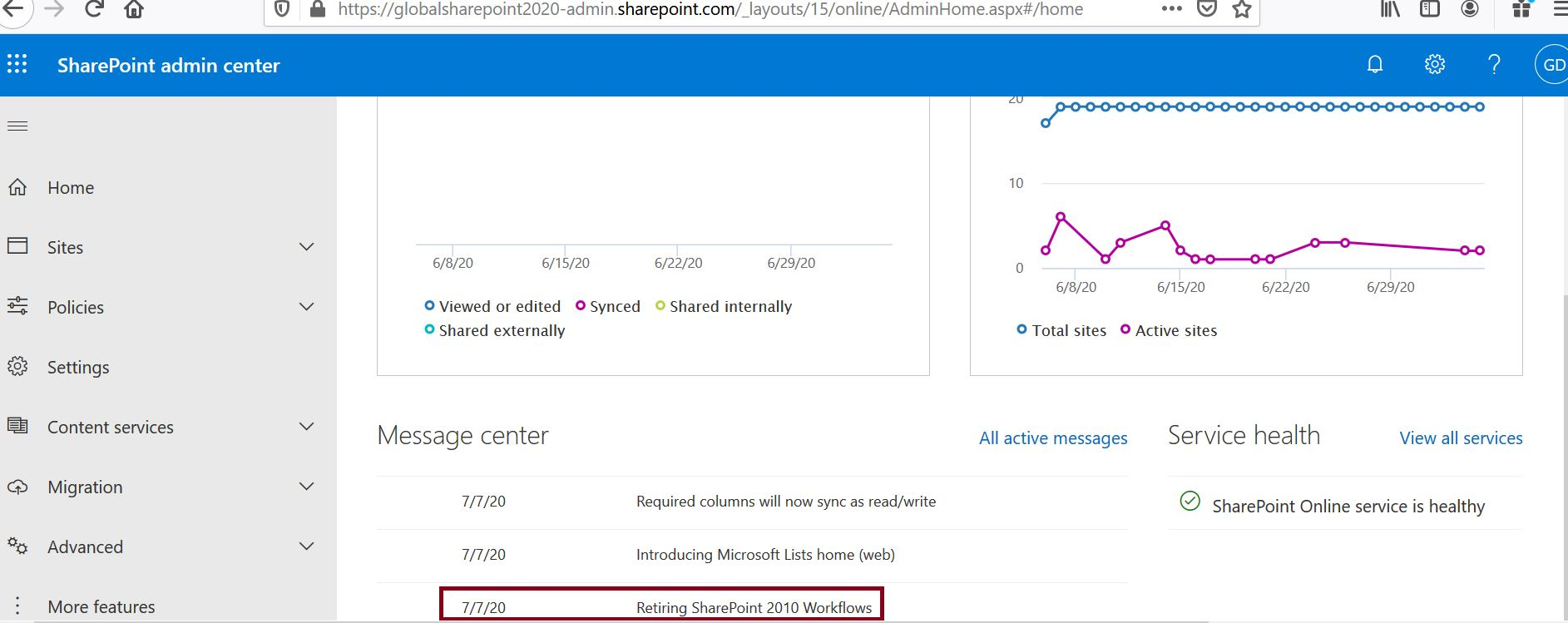 Retiring SharePoint 2010 Workflows from office 365 tenant