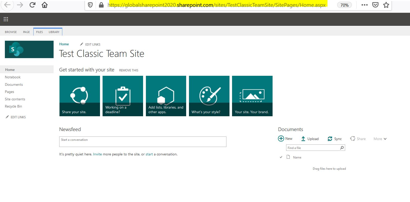Classic Team site before conversion in SharePoint Online