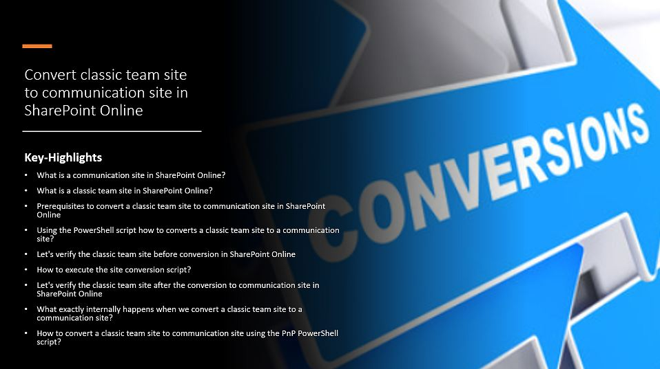 Convert classic team site to communication site in SharePoint Online
