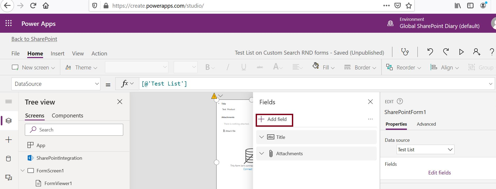 Customize SharePoint list form using PowerApps home page