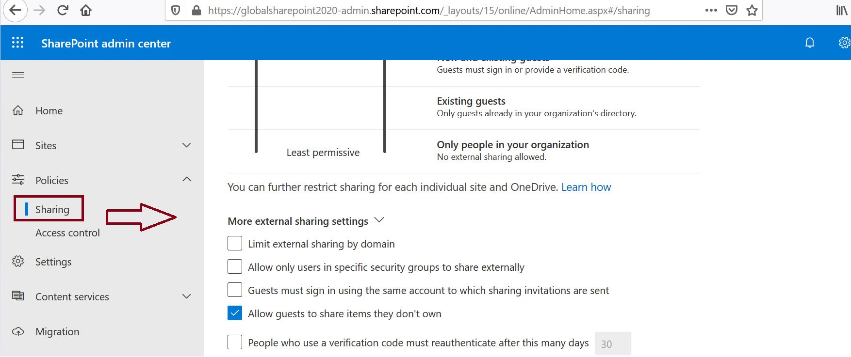 More external sharing settings in Policy sharing settings