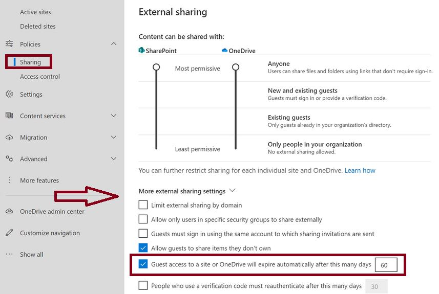Guest access to a site or OneDrive will expire automatically after this many days