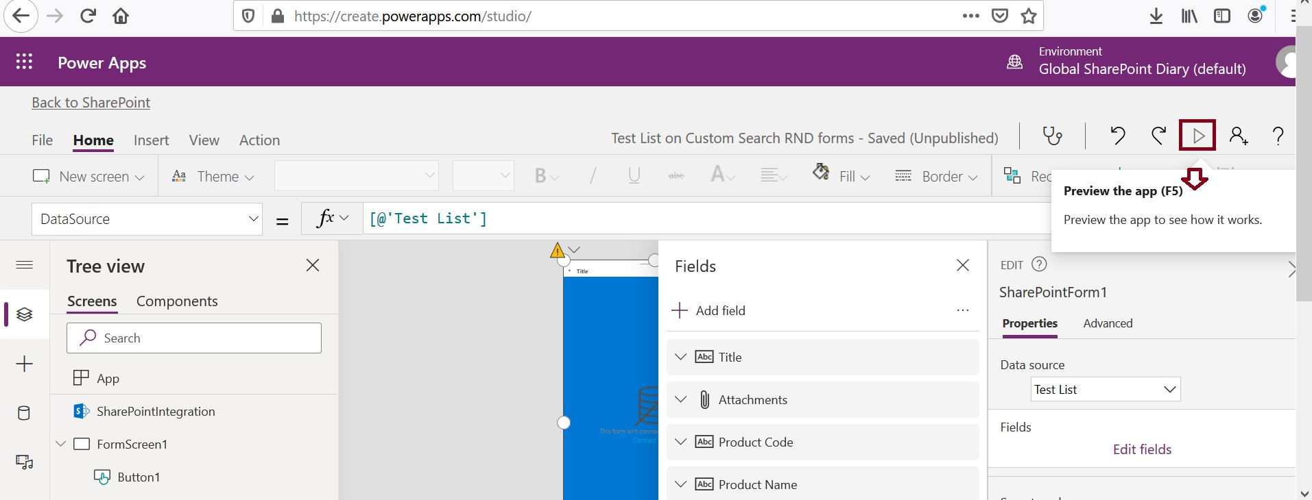 How to preview PowerApps app?