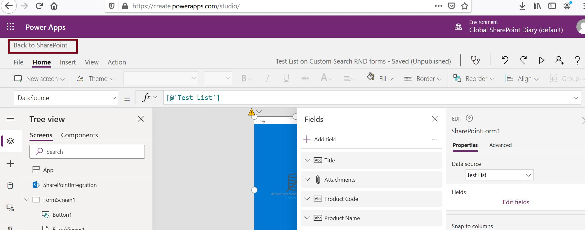 How to publish PowerApps in SharePoint Online site - Back to SharePoint