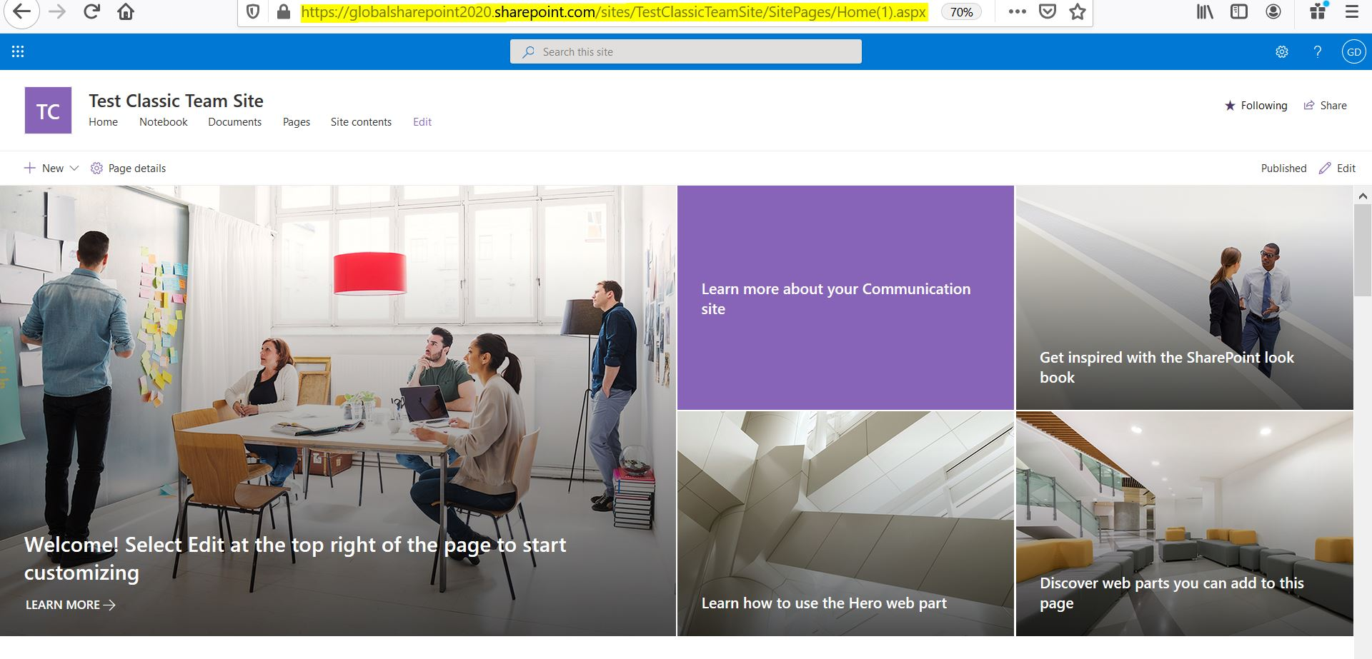 Classic team site after the conversion to communication site in SharePoint Online