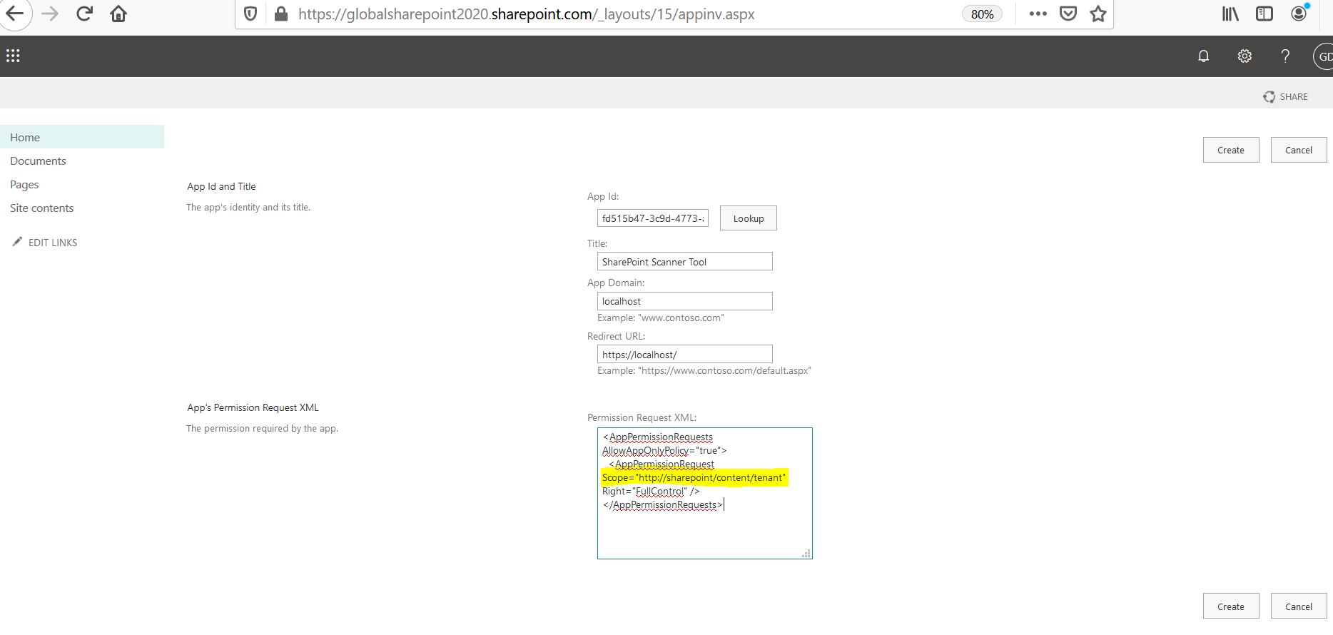 Permission request XML with tenant scope in SharePoint Online