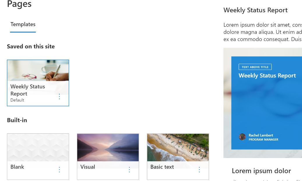 SharePoint default page templates in Microsoft 365 Roadmap ID 64529