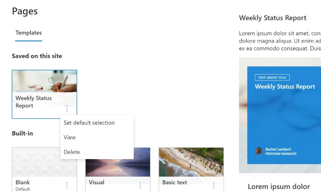 SharePoint default page templates in office 365 Microsoft update
