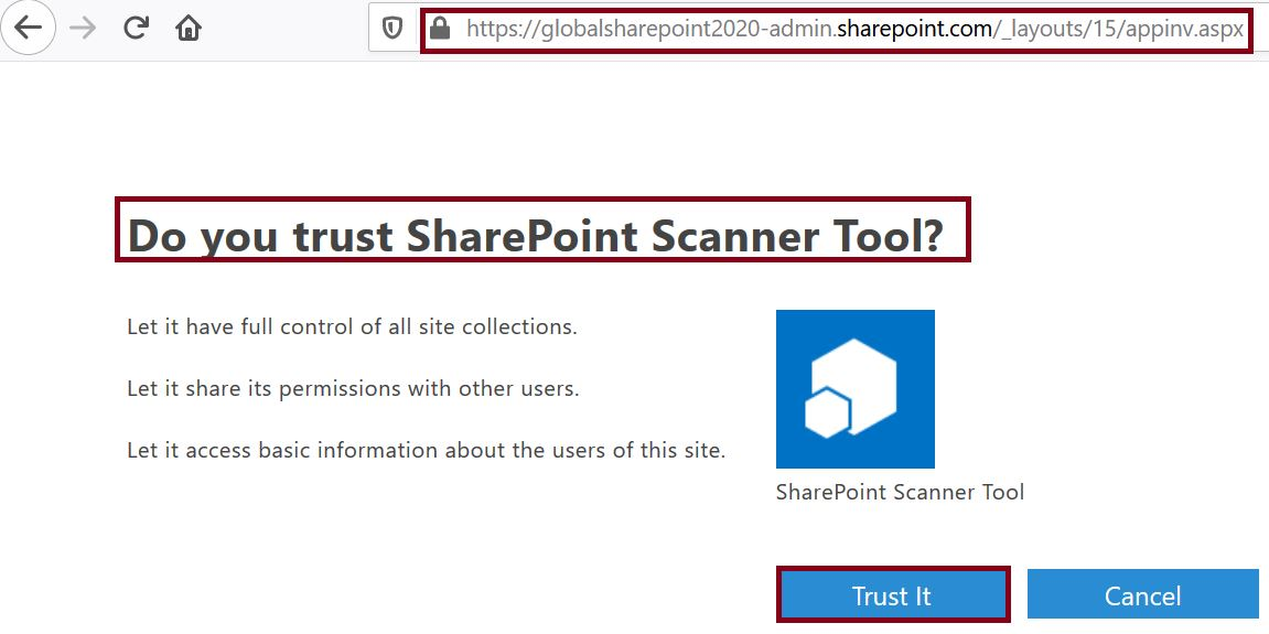 Trust it button is enabled in tenant scope permission request XML in SharePoint Online