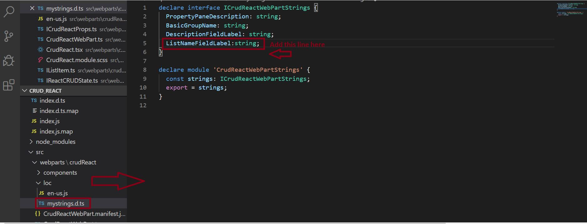 Add List Name Property in mystring.d.ts file - SPFX React Project