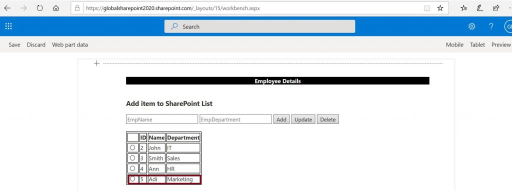 Add list item to SharePoint Online employee list - after addition (Read Items)