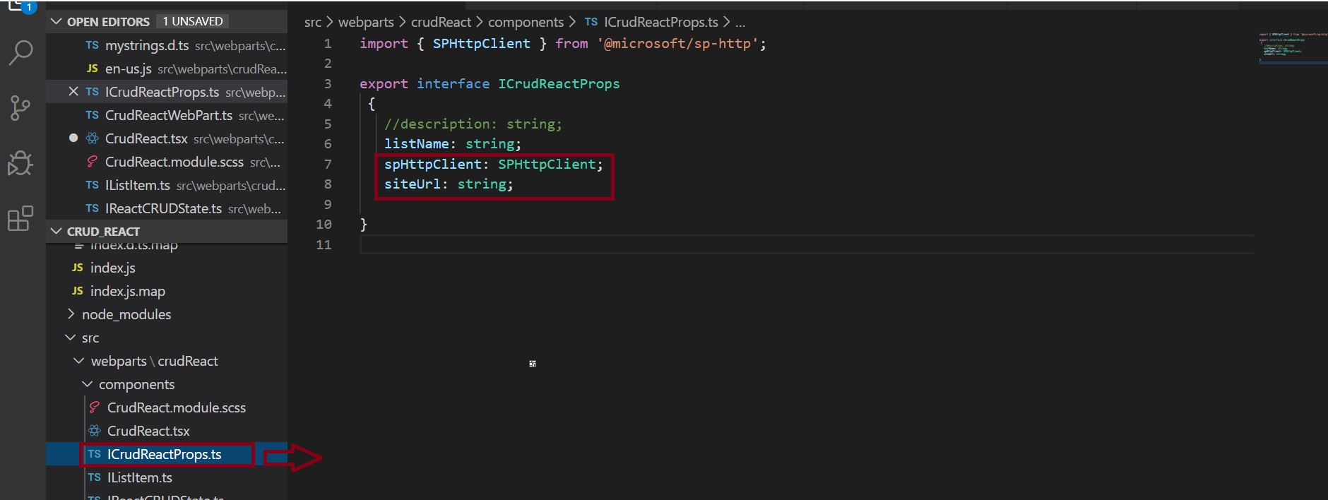 Configure Site URL and spHttpClient property in ICrudReactProps.ts file