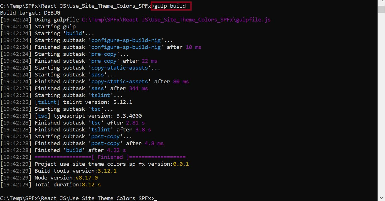 Gulp build command to see whether the solution got created without any errors