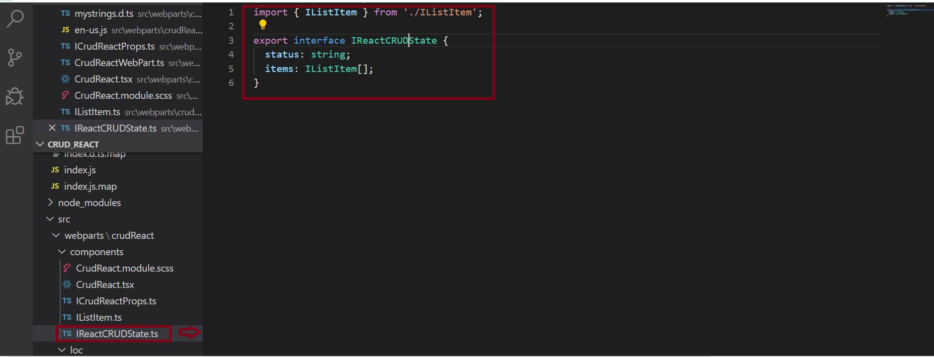 IReactCRUDState.ts file to handle the state in SPFx React Project