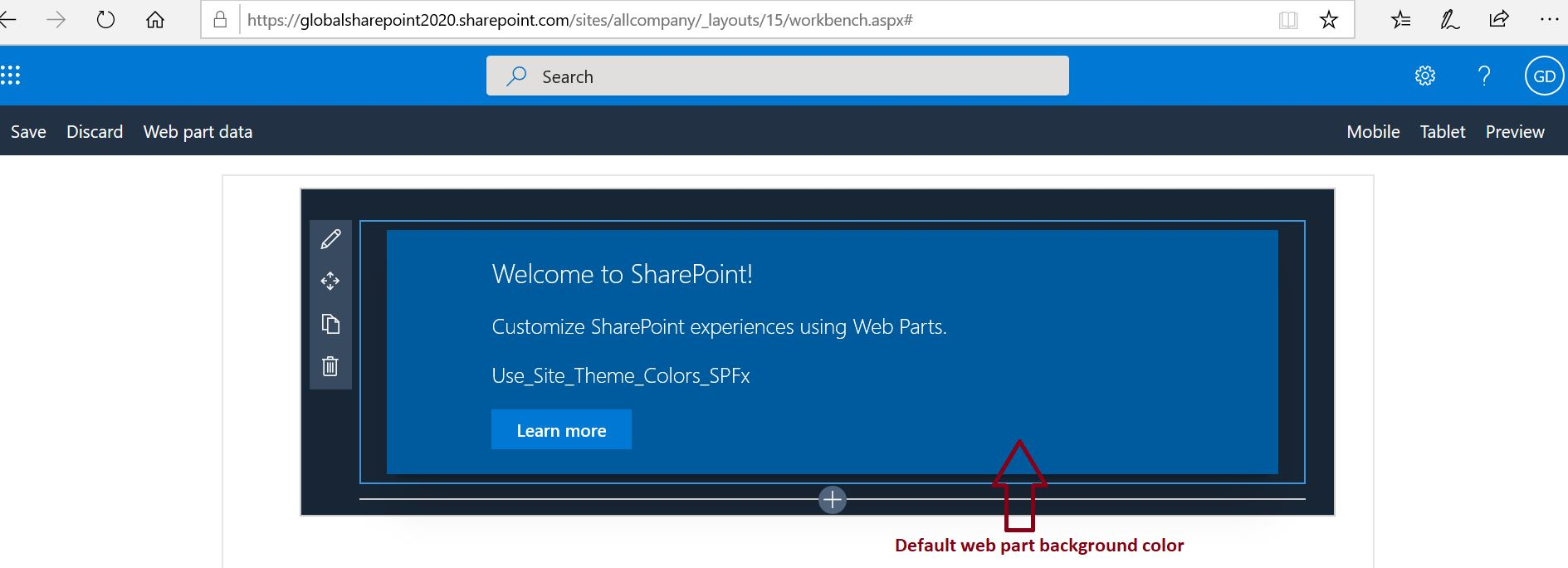 Launch SPFx web part in SharePoint Online workbench - Default web part background color