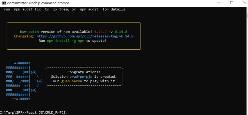 SPFX CRUD PnP JS - Congratulations your solution is created message