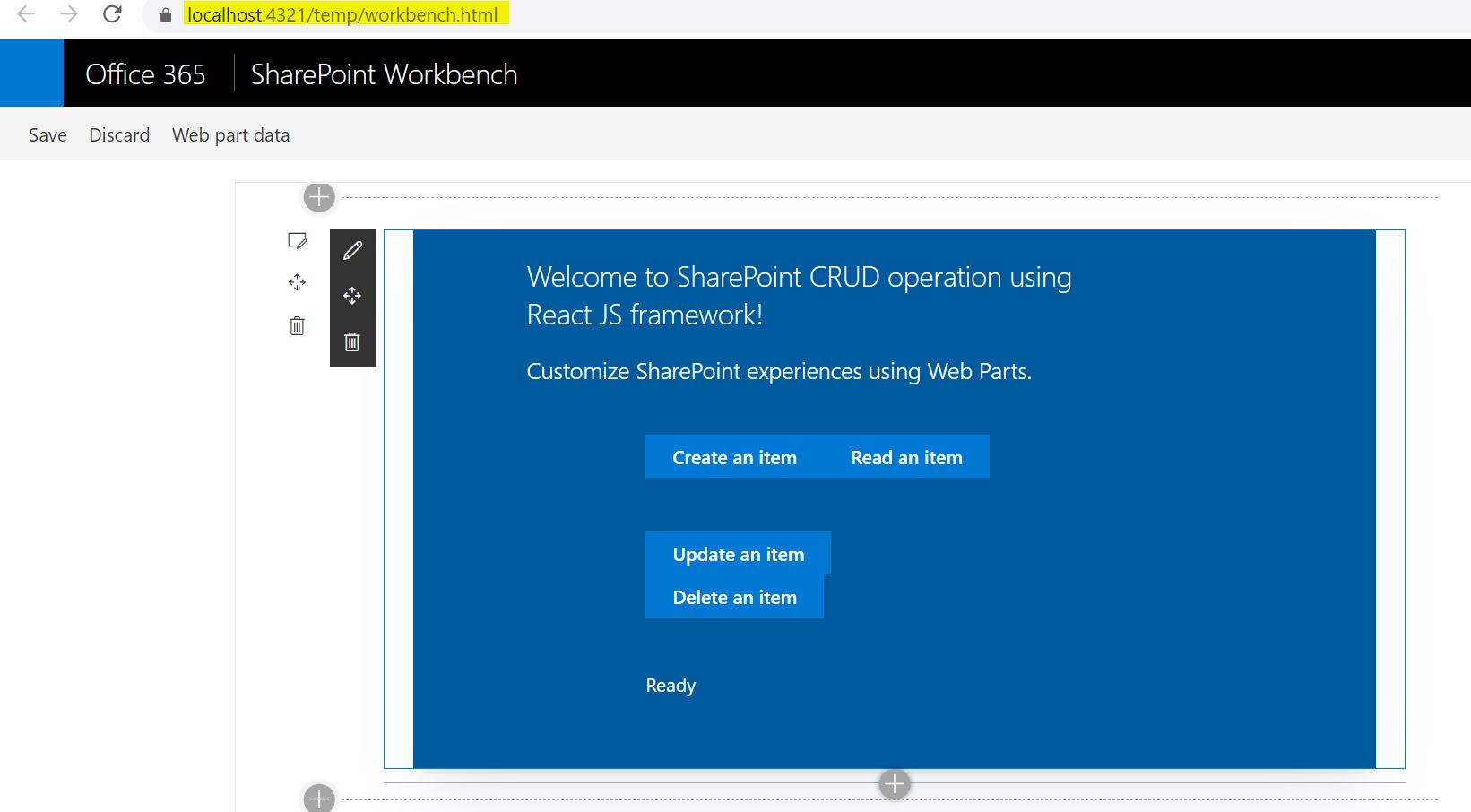 SPFx Gulp Serve succcessful - office SharePoint Workbench SPFx Runtime test