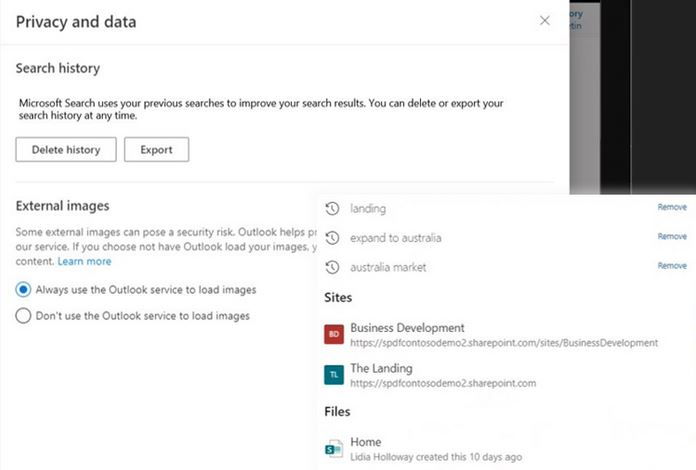 Download search query history data - Improving Microsoft Search with personal query history