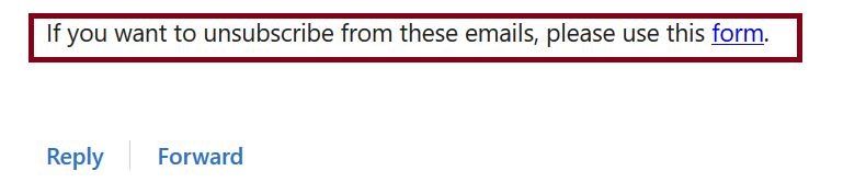 If you want to unsubscribe from these emails, please use this form