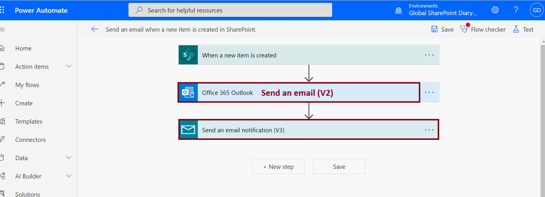 Send and email (V2) and Send an email notification(V3) Power Automate Action