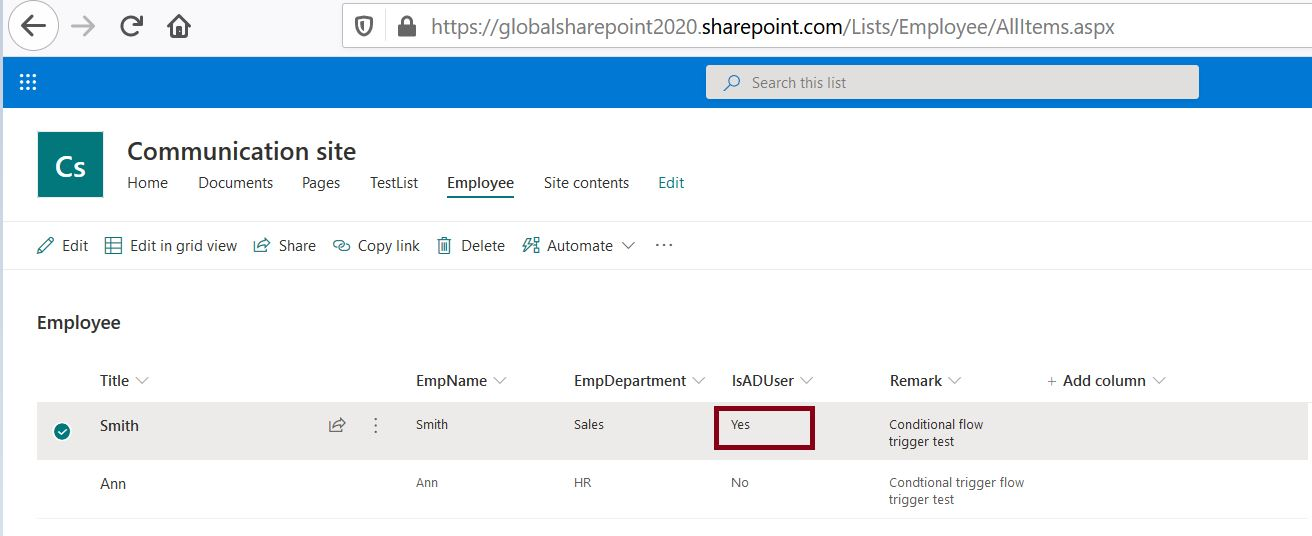 Trigger Power Automate based on condition from SharePoint Online list