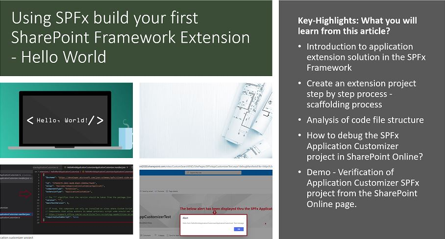 Using SPFx build your first SharePoint Framework Extension - Hello World