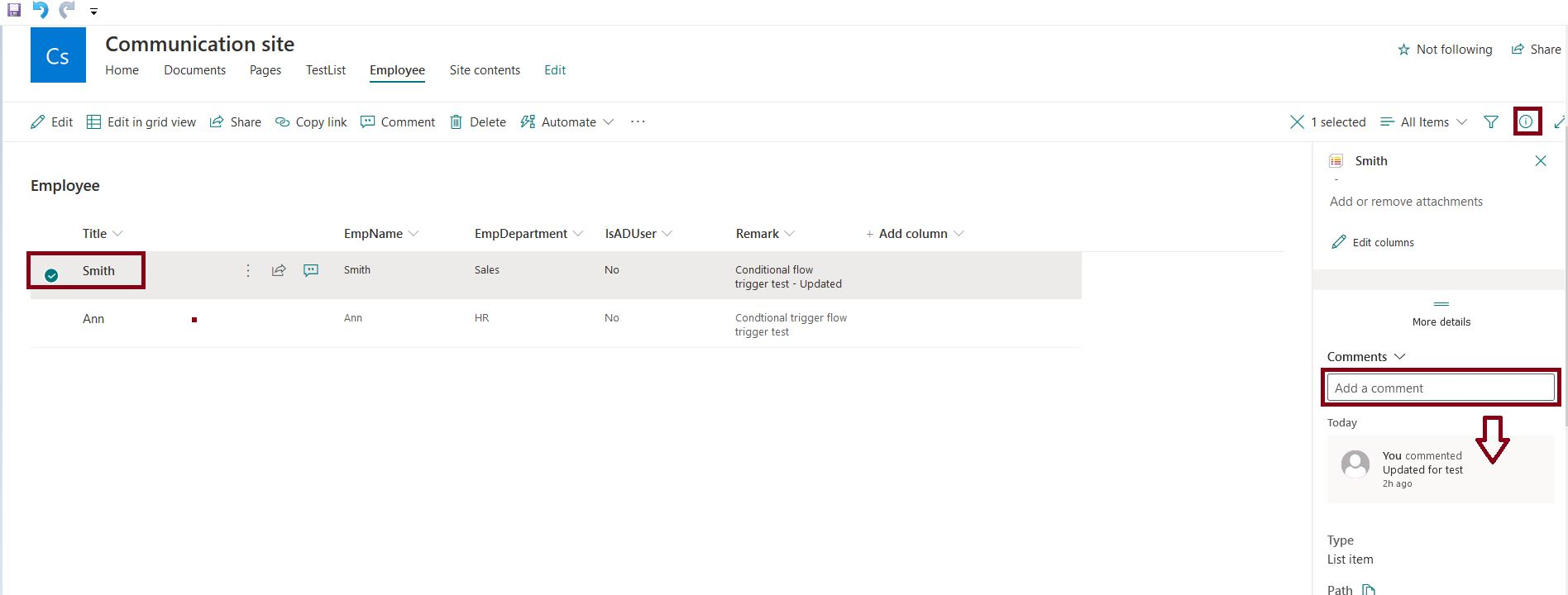 Add a comment for SharePoint Online list item modification from the details pane