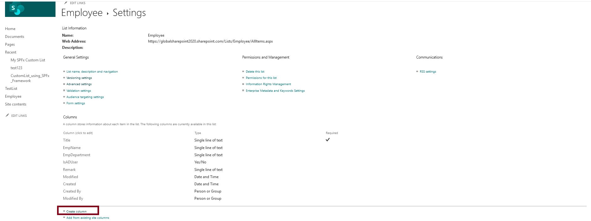 Create multiline text column in SharePoint Online list from list setting page