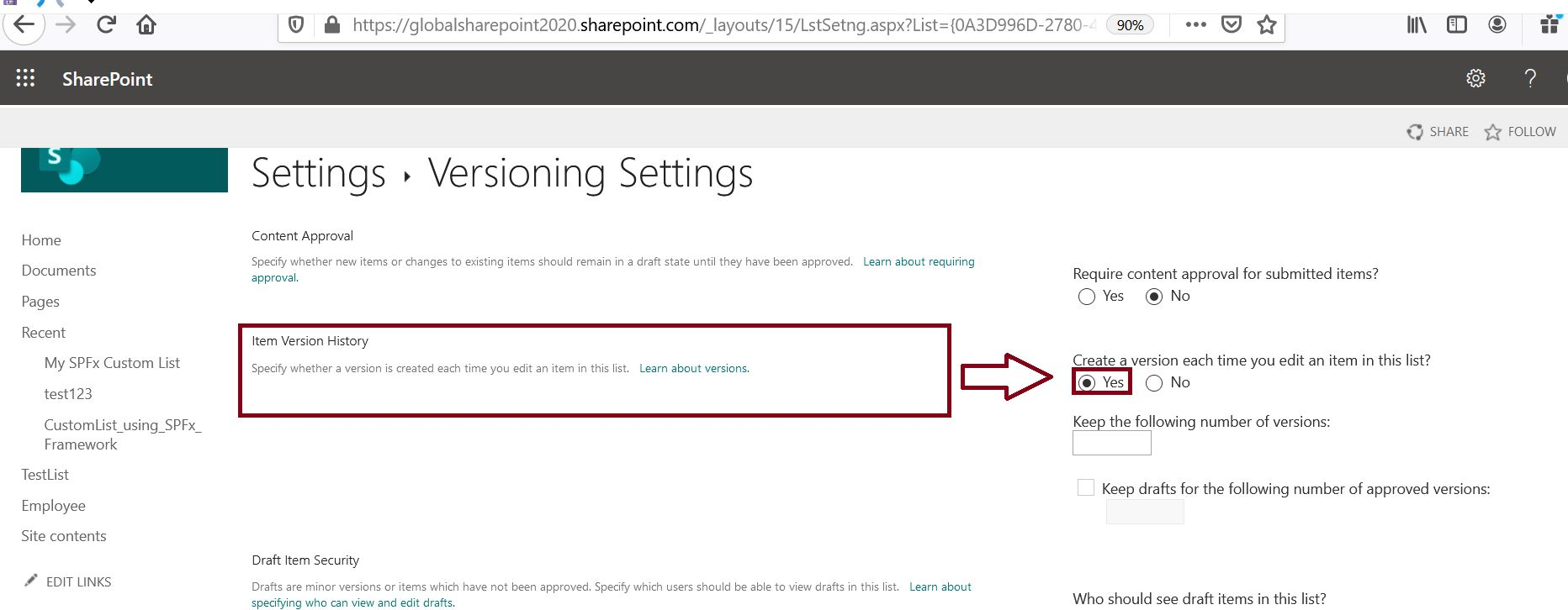 Track comments version history in SharePoint Online list   Global ...