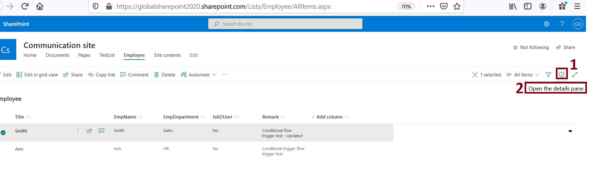 Open details pane in modern SharePoint Online list