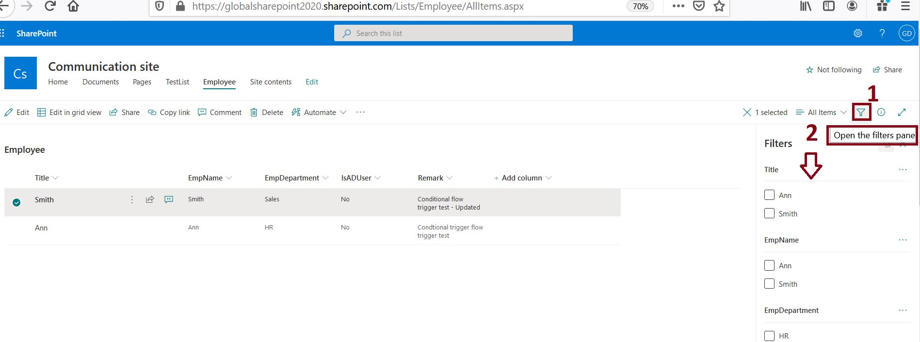 Open filters pane in modern SharePoint Online list