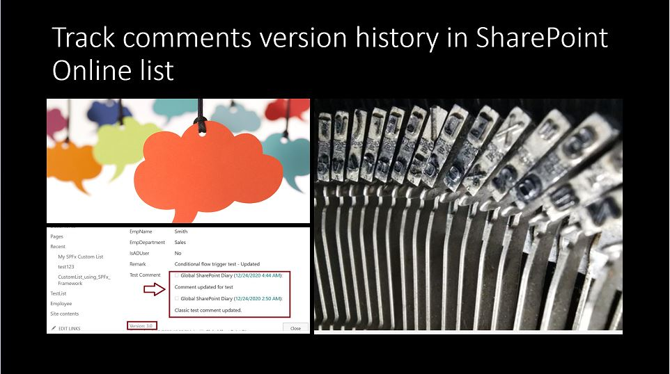 Track comments version history in SharePoint Online list