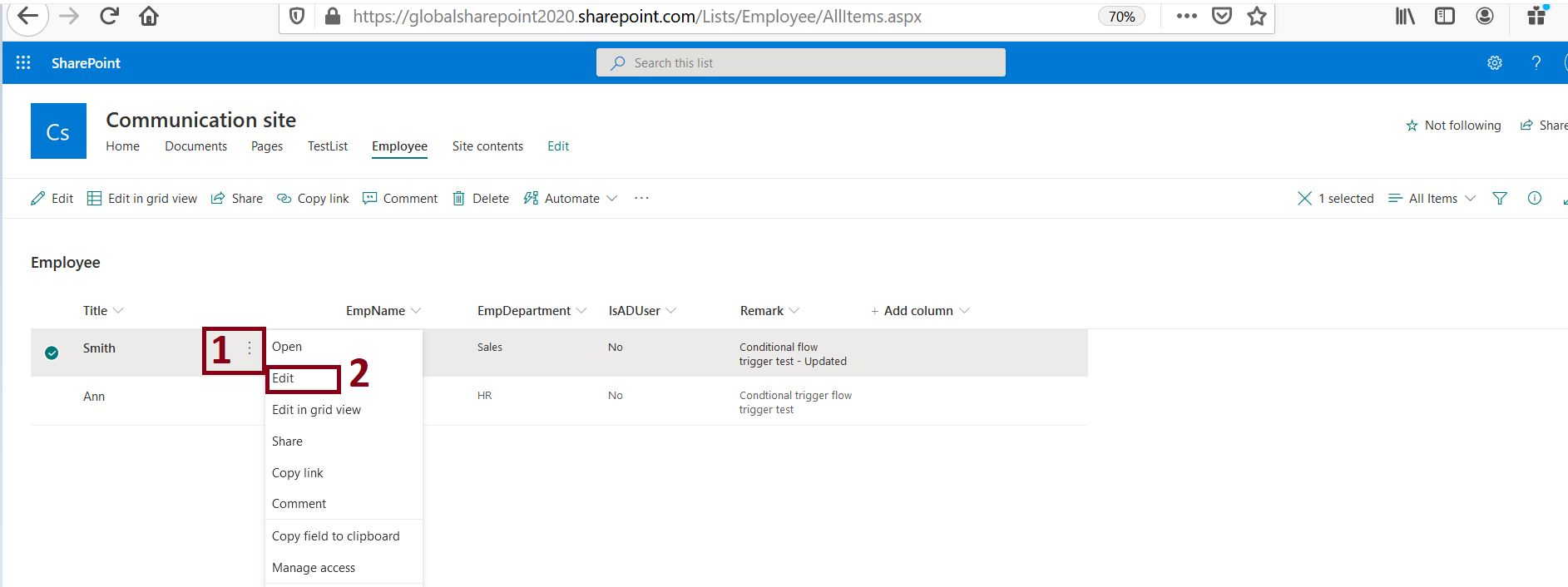 Track item history comment details in SharePoint Online list