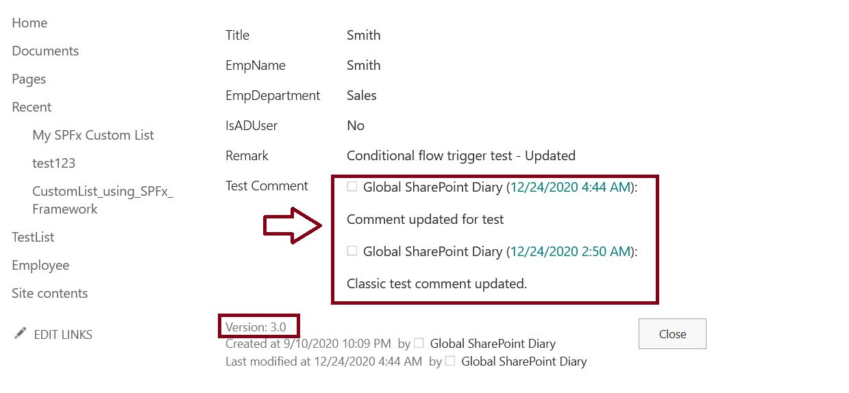 Verify the comment version history from SharePoint list item Modification