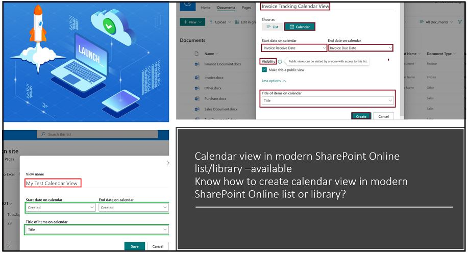 Calendar view in modern SharePoint Online list library – launched
