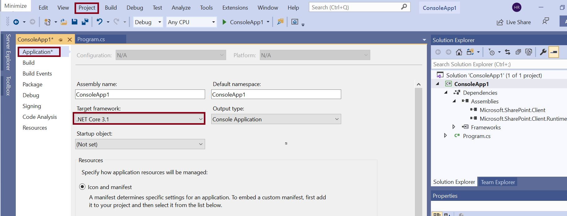 Change project target framework from C# console application